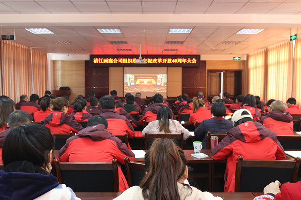"Qingjiang Gallery organized a group to watch ""the celebration of the 40th anniversary of reform and opening up"""